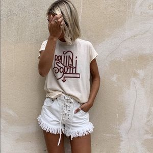 MINK PINK ZEAL LACE UP SHORTS - OFF WHITE